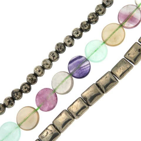 Pearlz Ocean Fluorite and Pyrite Loose Bead Strands (Set of 3) Jewelry for Womens