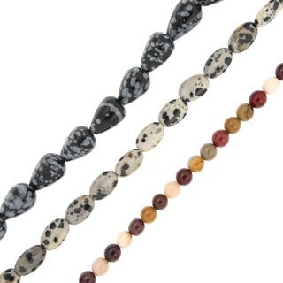 Pearlz Ocean Multi-colored Jasper Loose Bead Strands (Set of 3) Jewelry for Womens