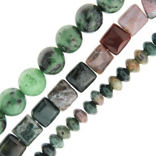Pearlz Ocean Ruby Zoisite and Jasper Loose Bead Strands (Set of 3)