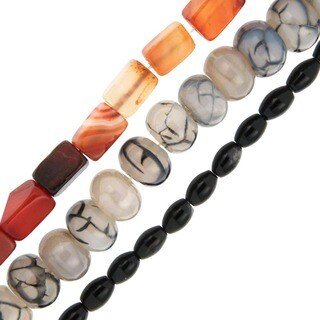 Pearlz Ocean Onyx, Red and Chinese Agate Loose Bead Strands (Set of 3)
