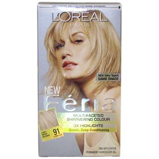 L'Oreal Feria Multi-Faceted Shimmering #91 Light Beige Blonde Cooler Hair Color