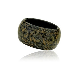 Riccova Black Poly Resin Gold and Green Thread Wide Bangle Bracelet
