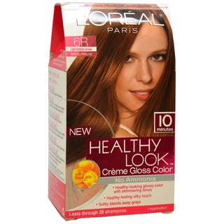 L'Oreal Women's Healthy Look Creme Gloss Color #6R Light Reddish Brown 1-application Hair Color