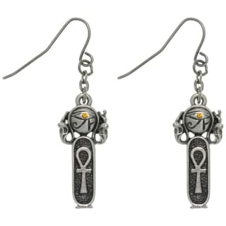 Carolina Glamour Collection Pewter Rhinestone Egyptian Ankh Earrings