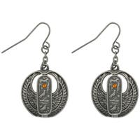 Pewter Rhinestone Egyptian Cartouche Earrings