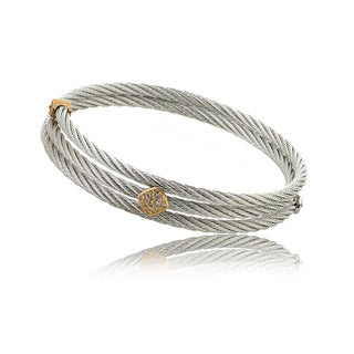 Riccova Tri-Color Cubic Zirconia Diamond-Shape Station Cable Bangle