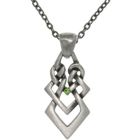 Pewter Rhinestone Ambition Knot Necklace