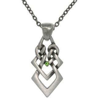 Pewter Rhinestone Ambition Knot Necklace