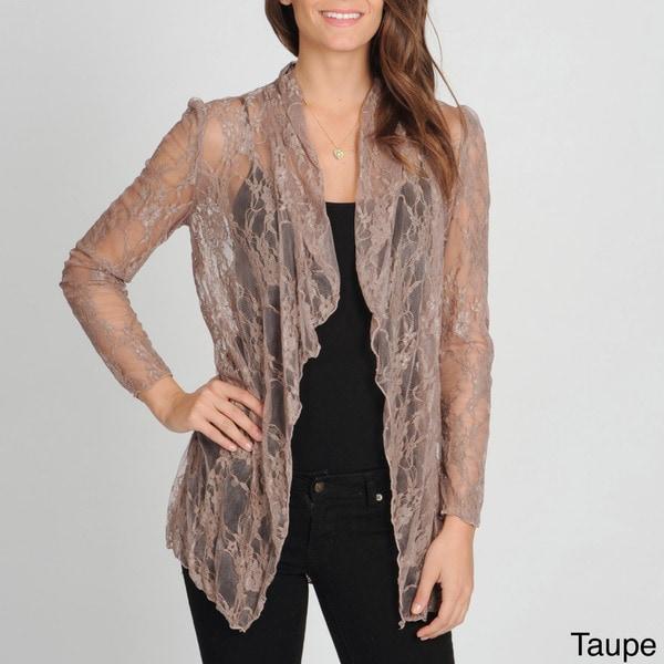Annalee + Hope Women's Lace Drape-front Cardigan