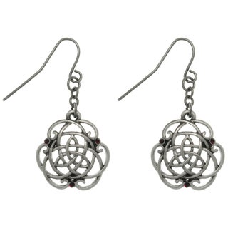 Pewter Rhinestone Trinity Knot Earrings
