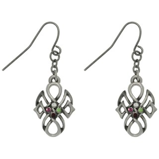 Pewter Rhinestone Tribal Knot Earrings
