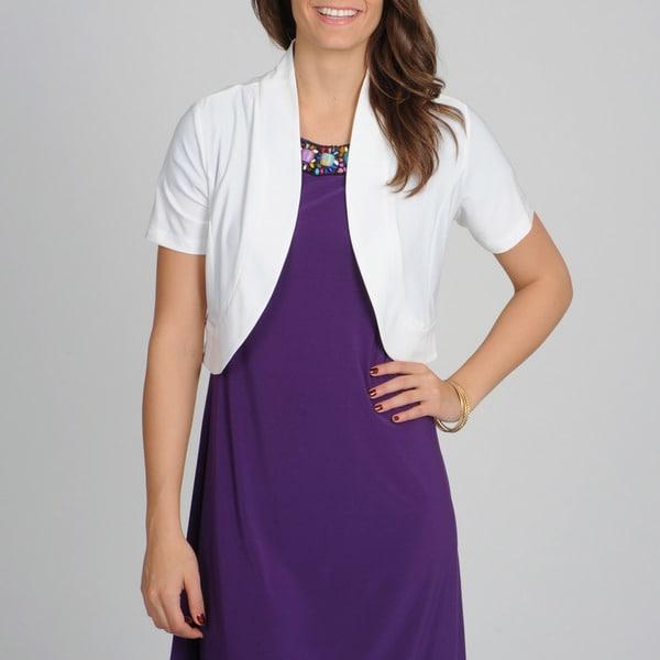 Lennie for Nina Leonard Women's White Short Sleeve Shrug
