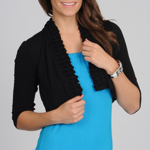 Lennie for Nina Leonard Women's Black Braided Trim Shrug