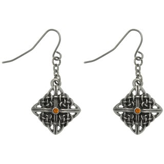Carolina Glamour Collection Pewter Rhinestone Celtic Square Knot Earrings