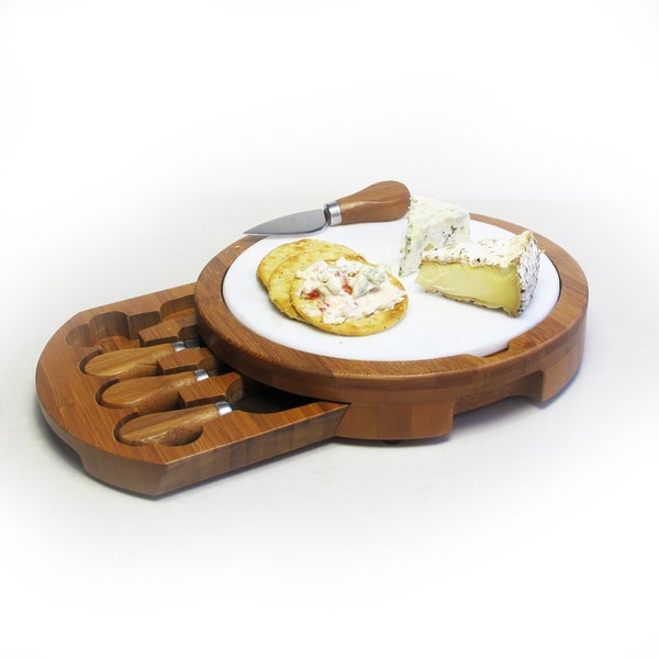 American Atelier Marble and Bamboo Cheeseboard with 4 Knives