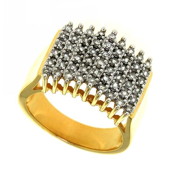 14k Yellow Gold over Silver 1/2ct TDW Diamond Pyramid Ring (H-I, I2-I3)