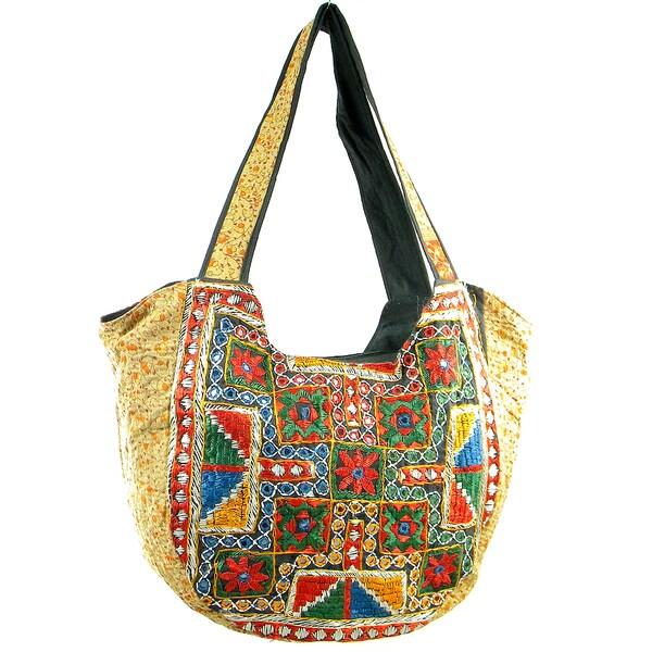 Handmade Embroidered Vintage-Material Banjara Hobo Shoulder Bag (India)