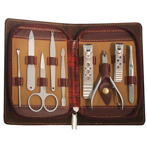 Dark Red Zippered Case 9-piece Manicure Set