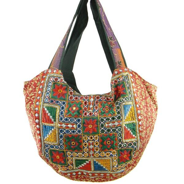 Floss Stiched with Sequins Vintage Banjara Hobo Bag (India)
