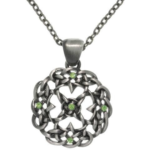 Pewter Rhinestone Knot Mandala Necklace