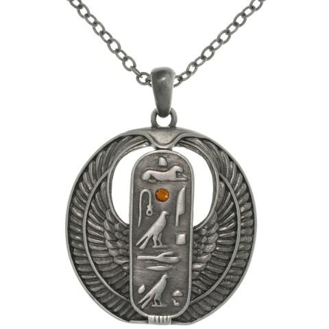 Pewter Rhinestone Egyptian Cartouche Necklace