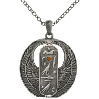 Pewter Rhinestone Egyptian Cartouche Necklace