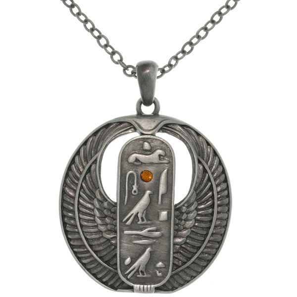 Shop Pewter Rhinestone Egyptian Cartouche Necklace