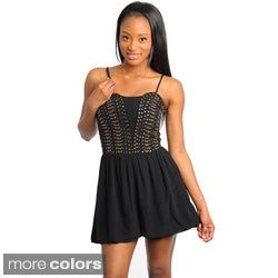 Stanzino Women's Black Studded Sleeveless Romper
