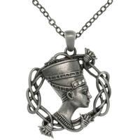 Pewter Rhinestone Egyptian Nefertiti Necklace