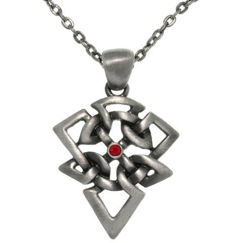 Pewter Rhinestone Celtic Arrow Necklace