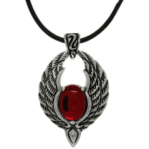 Carolina Glamour Collection Steel Red Glass Winged Phoenix Necklace