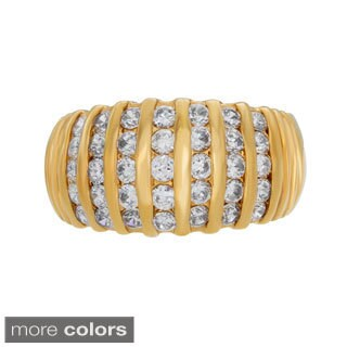 Sterling Essentials Gold over Silver Cubic Zirconia Dome Ring