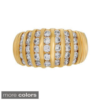 Yellow and Rose Gold plated Silver Cubic Zirconia Dome Ring ( Sizes 6-9 )