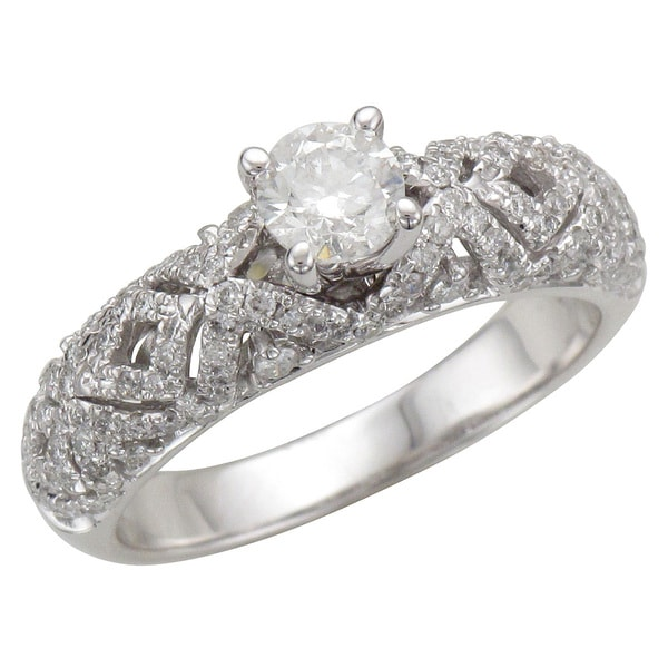 Unending Love 14k White Gold 1ct TDW Diamond Lace Engagement Ring (H-I, I1-I2)