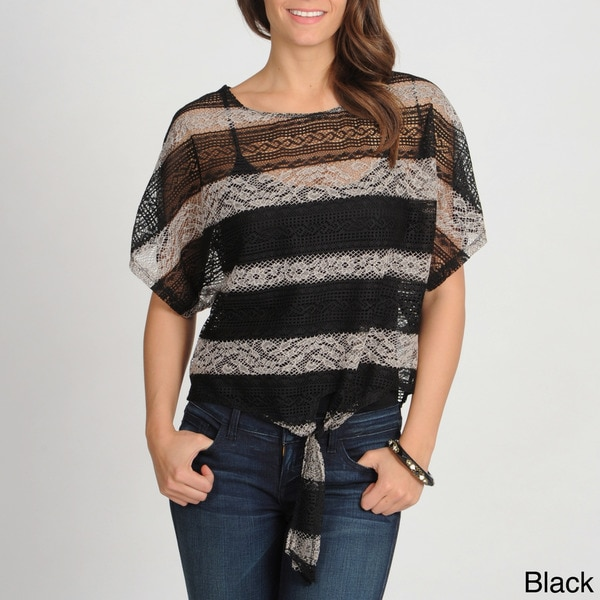 Annalee + Hope Women's Striped Lace Tie-front Top