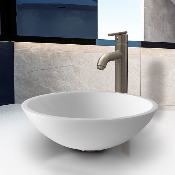 VIGO Flat Edged White Phoenix Stone Vessel Sink with Seville Faucet in Brushed Nickel