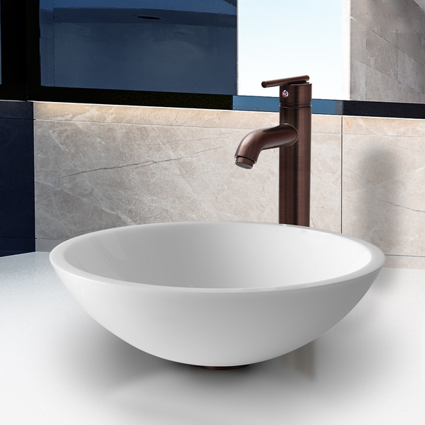VIGO Flat Edged White Phoenix Stone Vessel Sink with Seville Faucet in Oil Rubbed Bronze