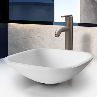 VIGO Square White Phoenix Stone Glass Vessel Sink and Brushed Nickel Faucet