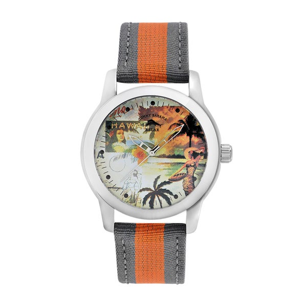 Tommy Bahama Men's 'Relax' Orange/ Grey Graphic Watch