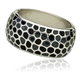 Riccova Silvertone Grey and Black Enamel Wide Bangle Bracelet