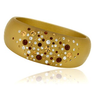 Riccova Goldtone Resin Red, White and Yellow Crystal Bangle Bracelet
