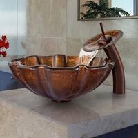 VIGO Walnut Shell Glass Vessel Bathroom Sink and Waterfall Faucet Set