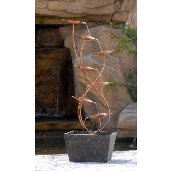 Metal Leaves Cascade Indoor/ Outdoor Floor Water Fountain