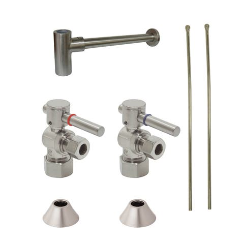 Decorative Brushed Nickel Solid Brass Plumbing Supply Kit - Silver