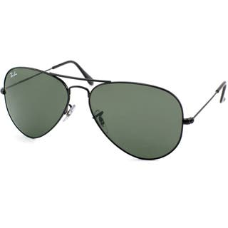 Ray-Ban Aviator RB3025 Unisex Black Frame Green Lens Sunglasses|https://ak1.ostkcdn.com/images/products/7879598/7879598/Ray-Ban-Unisex-RB3025-Large-Metal-Aviator-Shiny-Black-Sunglasses-P15262499.jpg?impolicy=medium