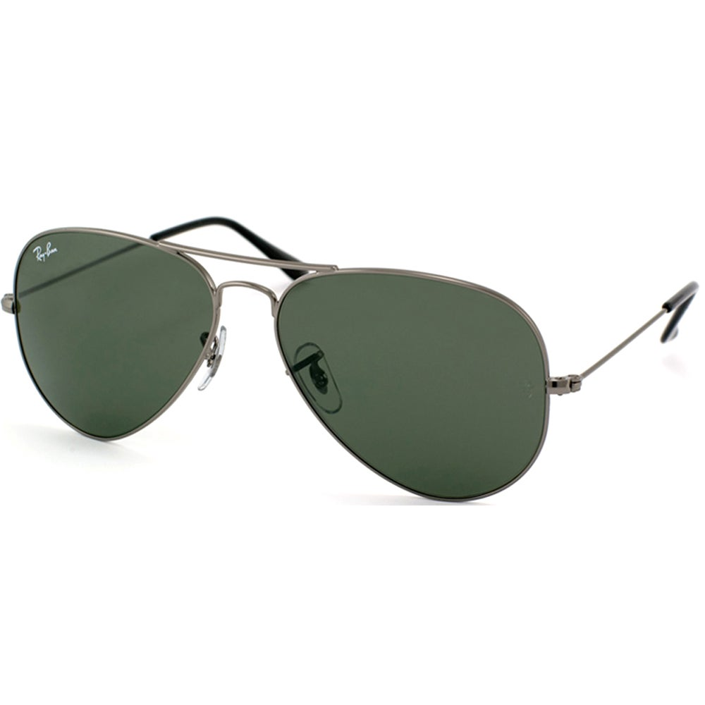 3113a121a4 ... authentic ray ban aviator rb3025 unisex gunmetal frame green classic  lens sunglasses silver 2166a 05d73 ...