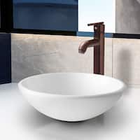 VIGO Elizabeth Phoenix Stone Vessel Bathroom Sink Set With Seville Vessel Faucet In Oil Rubbed Bronze