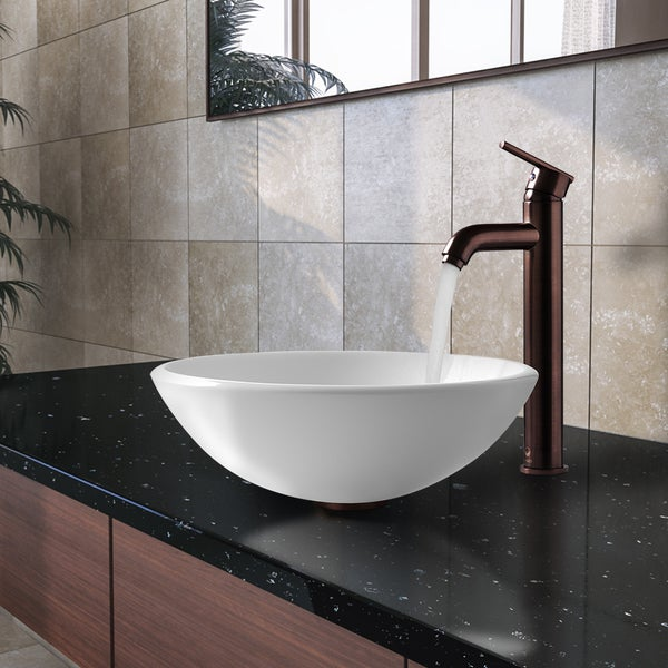 VIGO Elizabeth Phoenix Stone Vessel Bathroom Sink Set With Seville Vessel  Faucet In Oil Rubbed Bronze   Free Shipping Today   Overstock.com   15262509