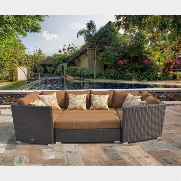 Corvus Batavia Outdoor 6 Piece Brown Wicker Sofa Set With Sunbrella Fabric  Cushions