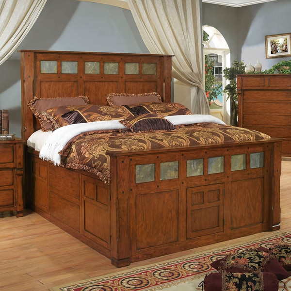 Durango Solid Dark Birch Panel Bed with Drawers
